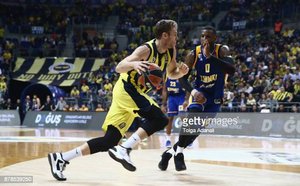 Nicolo Melli #4 of Fenerbahce Dogus and Thomas Robinson #0 of Khimki Moscow in action during the 2017/2018 Turkish Airlines EuroLeague Regular Season...