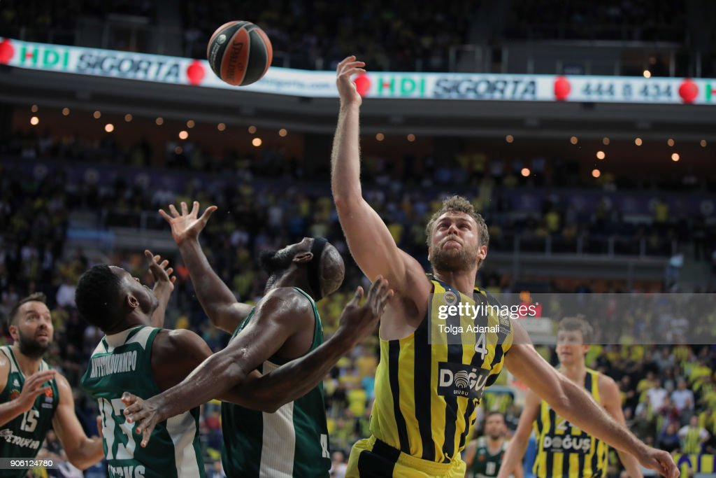 Nicolo Melli, #4 of Fenerbahce Dogus in action during the 2017/2018 Turkish Airlines EuroLeague Regular Season Round 18 game between Fenerbahce Dogus Istanbul and Panathinaikos Superfoods Athens at Ulker Sports and Event Hall on January 17, 2018 in Istanbul, Turkey.