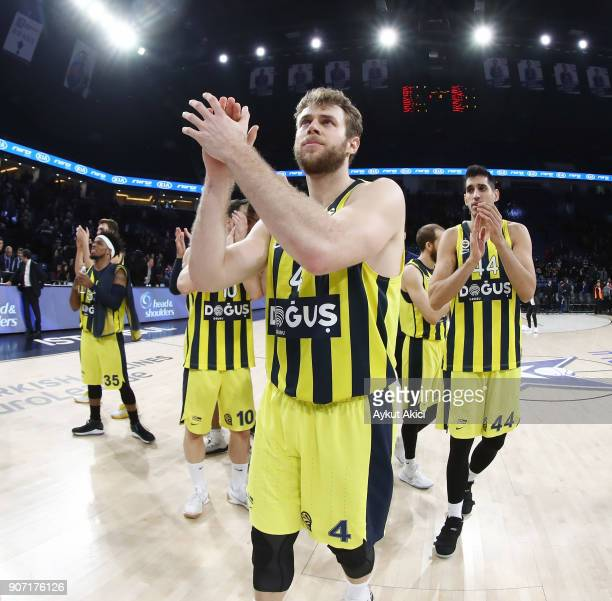 Nicolo Melli #4 of Fenerbahce Dogus Istanbul celebrates victory during the 2017/2018 Turkish Airlines EuroLeague Regular Season Round 19 game between...