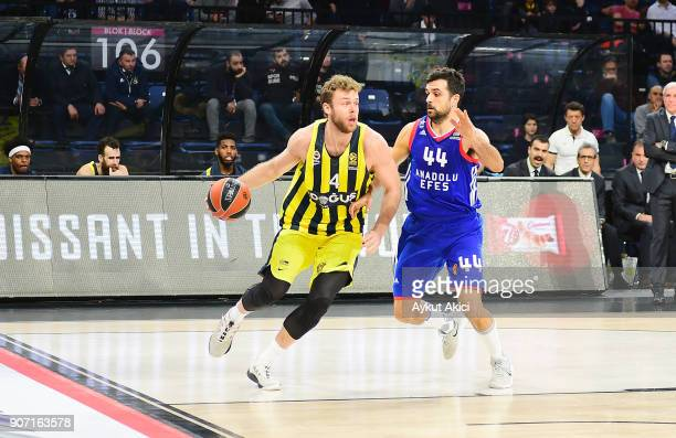 Nicolo Melli #4 of Fenerbahce Dogus Istanbul competes with Krunoslav Simon #44 of Anadolu Efes Istanbul during the 2017/2018 Turkish Airlines...