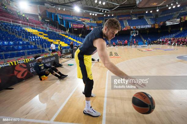 Nicolo Melli #4 of Fenerbahce Dogus Istanbul stretching prior the 2017/2018 Turkish Airlines EuroLeague Regular Season game between FC Barcelona...