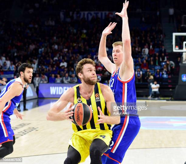 Nicolo Melli, #4 of Fenerbahce Istanbul competes with Brock Motum, #12 of Anadolu Efes Istanbul during the 2018/2019 Turkish Airlines EuroLeague...