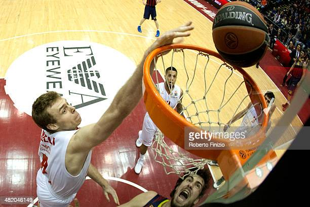 Nicolo Melli, #9 of EA7 Emporio Armani Milan in action during the 2013-2014 Turkish Airlines Euroleague Top 16 Date 13 game between EA7 Emporio...