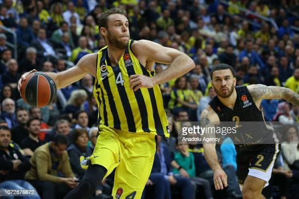 Nicolo Melli of Fenerbahce in action against Mike James of AX Armani Exchange Olimpia Milan during the Turkish Airlines Euroleague basketball match...