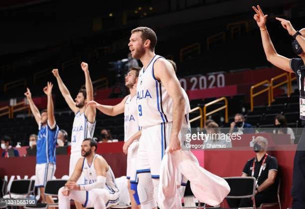 Nicolo Melli of Team Italy and teammates celebrate a play against Nigeria during the first half of a Men's Basketball Preliminary Round Group B game...