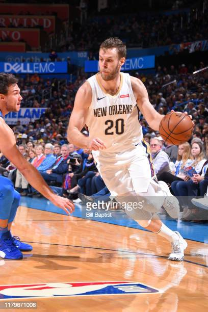 Nicolo Melli of the New Orleans Pelicans drives to the basket against the Oklahoma City Thunder on November 2 2019 at Chesapeake Energy Arena in...