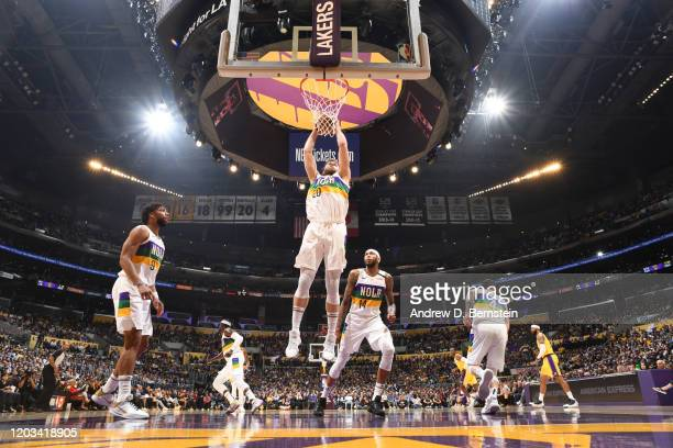 Nicolo Melli of the New Orleans Pelicans dunks the ball against the Los Angeles Lakers on February 25 2020 at STAPLES Center in Los Angeles...