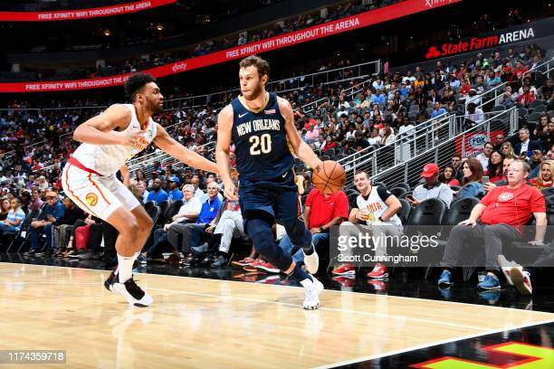 Nicolo Melli of the New Orleans Pelicans handles the ball against the Atlanta Hawks during a preseason game on October 7 2019 at State Farm Arena in...