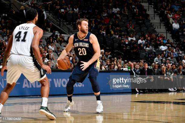 Nicolo Melli of the New Orleans Pelicans handles the ball against the San Antonio Spurs during a preseason game on October 13 2019 at the ATT Center...