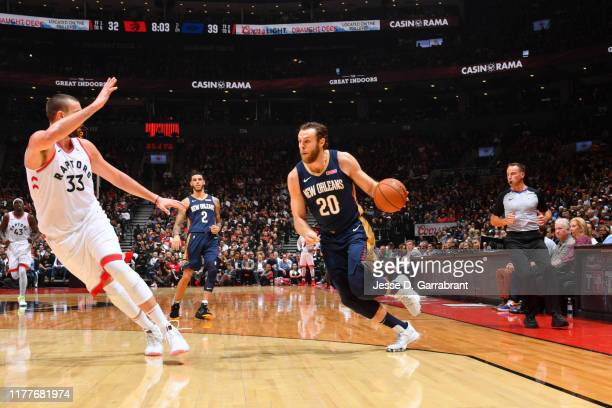 Nicolo Melli of the New Orleans Pelicans handles the ball against the Toronto Raptors on October 22 2019 at the Scotiabank Arena in Toronto Ontario...