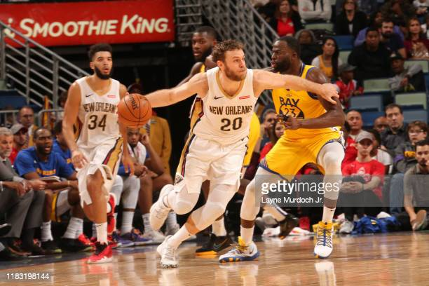 Nicolo Melli of the New Orleans Pelicans handles the ball against the Golden State Warriors on November 17 2019 at the Smoothie King Center in New...