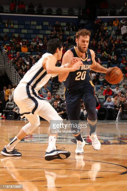 Nicolo Melli of the New Orleans Pelicans handles the ball against the Memphis Grizzlies on January 31 2020 at the Smoothie King Center in New Orleans...