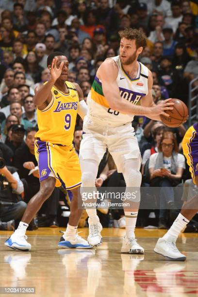 Nicolo Melli of the New Orleans Pelicans handles the ball against the Los Angeles Lakers on February 25 2020 at STAPLES Center in Los Angeles...