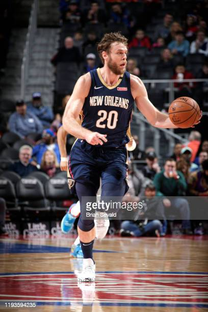 Nicolo Melli of the New Orleans Pelicans handles the ball during a game against the Detroit Pistons on January 13 2020 at Little Caesars Arena in...