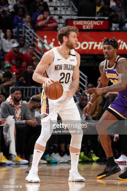 Nicolo Melli of the New Orleans Pelicans handles the ball during the game against the Los Angeles Lakers on March 1 2020 at the Smoothie King Center...