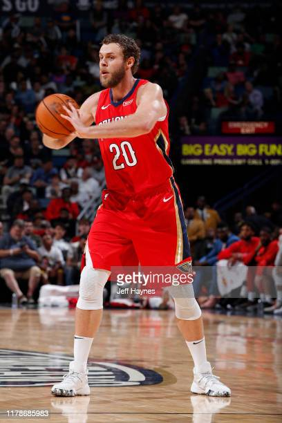 Nicolo Melli of the New Orleans Pelicans passes the ball against the Golden State Warriors on October 28 2019 at the Smoothie King Center in New...