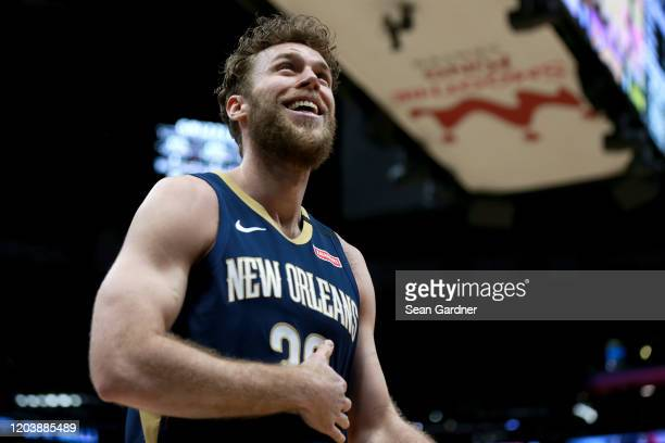 Nicolo Melli of the New Orleans Pelicans reacts to a call during a NBA game against the Memphis Grizzlies at Smoothie King Center on January 31 2020...