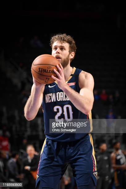Nicolo Melli of the New Orleans Pelicans shoots a free throw during a game against the Detroit Pistons on January 13 2020 at Little Caesars Arena in...