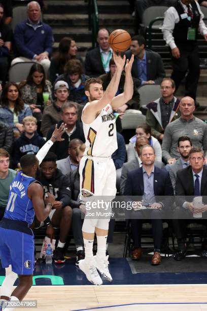 Nicolo Melli of the New Orleans Pelicans shoots a three point basket during the game against the Dallas Mavericks on March 4 2020 at the American...
