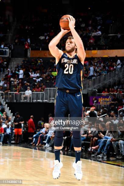 Nicolo Melli of the New Orleans Pelicans shoots the ball against the Atlanta Hawksn during a preseason game on October 7 2019 at State Farm Arena in...