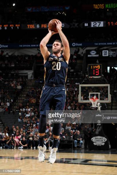 Nicolo Melli of the New Orleans Pelicans shoots the ball against the San Antonio Spurs during a preseason game on October 13 2019 at the ATT Center...