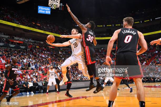 Nicolo Melli of the New Orleans Pelicans shoots the ball against the Miami Heat on November 16 2019 at the American Airlines Arena in Miami Florida...