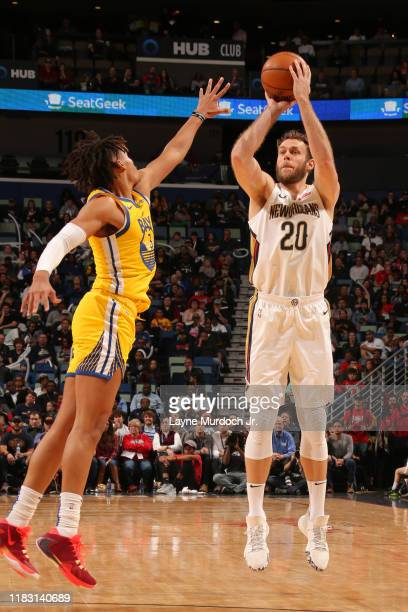 Nicolo Melli of the New Orleans Pelicans shoots the ball against the Golden State Warriors on November 17 2019 at the Smoothie King Center in New...