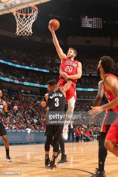 Nicolo Melli of the New Orleans Pelicans shoots the ball against the Portland Trail Blazers on November 19 2019 at Smoothie King Center in New...