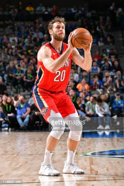 Nicolo Melli of the New Orleans Pelicans shoots the ball against the Dallas Mavericks on December 07 2019 at the American Airlines Center in Dallas...