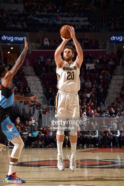 Nicolo Melli of the New Orleans Pelicans shoots the ball against the Cleveland Cavaliers on January 28 2020 at Rocket Mortgage FieldHouse in...