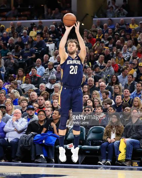 Nicolo Melli of the New Orleans Pelicans shoots the ball against the Indiana Pacers at Bankers Life Fieldhouse on February 08 2020 in Indianapolis...