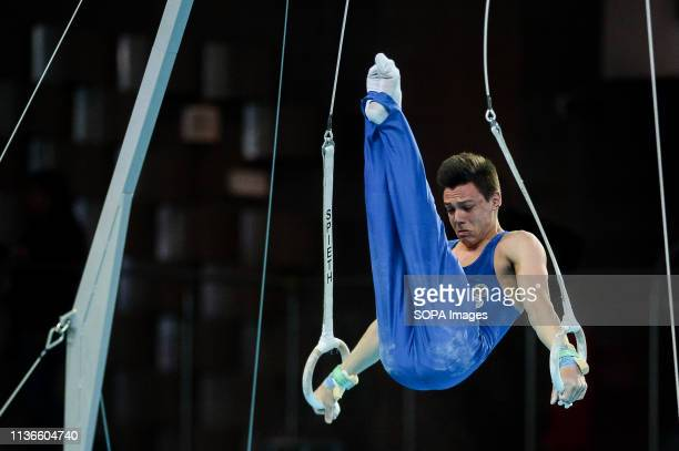 Nicolo Mozzato from Italy seen in action on the rings during the Men's AllAround Final of 8th European Championships in Artistic Gymnastics