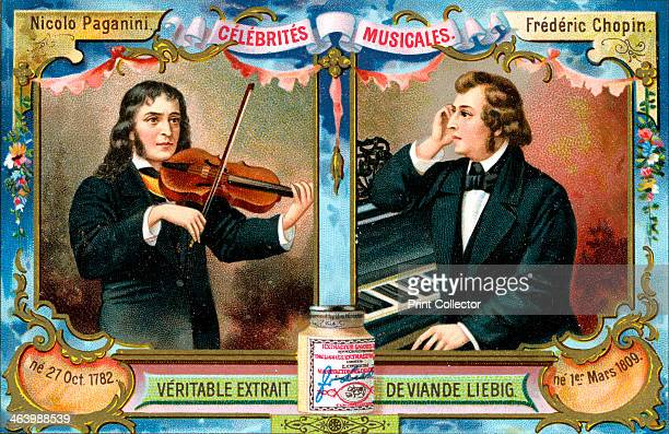 Nicolo Paganini and Frederic Chopin c1900 Musicians Nicolo Paganini and Frederic Chopin French advertising for Liebig extract of meat c1900