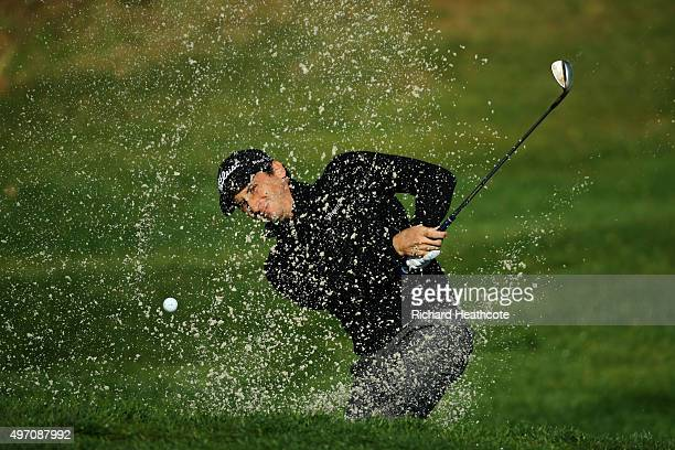 Nicolo Ravano of Italy plays a bunker shot during the first round of the European Tour Qualifying School Final at PGA Catalunya Resort on November 14...
