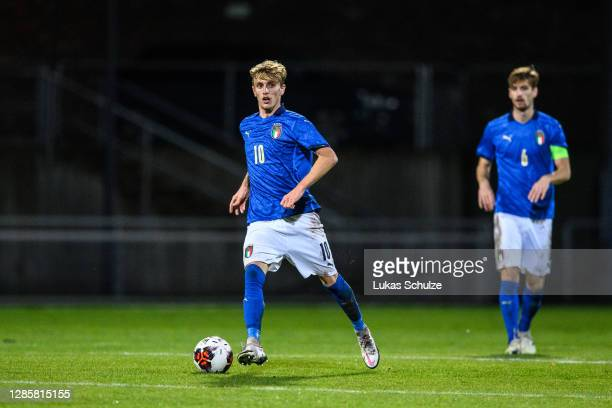 Nicolo Rovella of Italy controls the ball during the UEFA Euro Under 21 Qualifier match between Luxembourg U21 and Italy U21 at Stade Municipal de la...