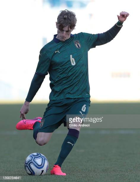 Nicolo Rovella of Italy kicks the ball during the International Friendly match between Italy U19 and Switzerland U19 at the Stadio Rigamonti-Ceppi on...