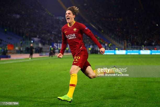 Nicolo Zaniiolo of AS Roma celebrates scoring the opening goal during the UEFA Champions League Round of 16 First Leg match between AS Roma and FC...