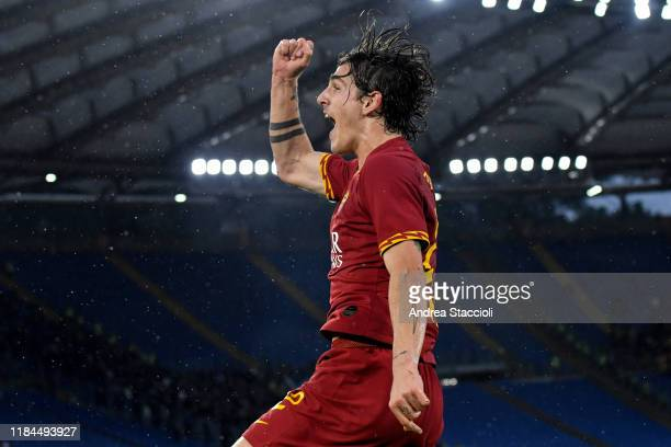 Nicolo Zaniolo of AS Roma celebrates after scoring a goal which is later disallowed by VAR during the Serie A football match between AS Roma and...