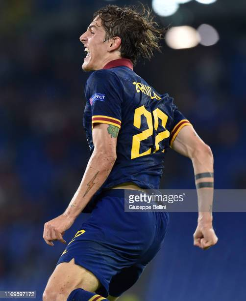 Nicolo Zaniolo of AS Roma celebrates after scoring goal 30 during the UEFA Europa League group J match between AS Roma and Istanbul Basaksehir FK at...