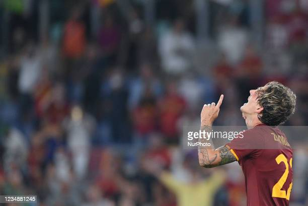 Nicolo Zaniolo of AS Roma celebrates after scoring second goal during the UEFA Conference League Play-Offs Second Leg match between Trabzonspor and...