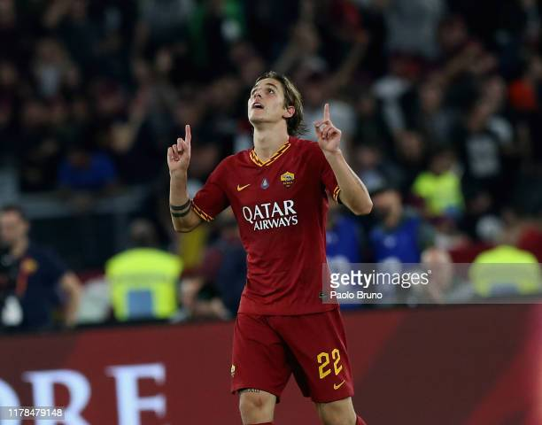Nicolo' Zaniolo of AS Roma celebrates after scoring the team's second goal during the Serie A match between AS Roma and AC Milan at Stadio Olimpico...