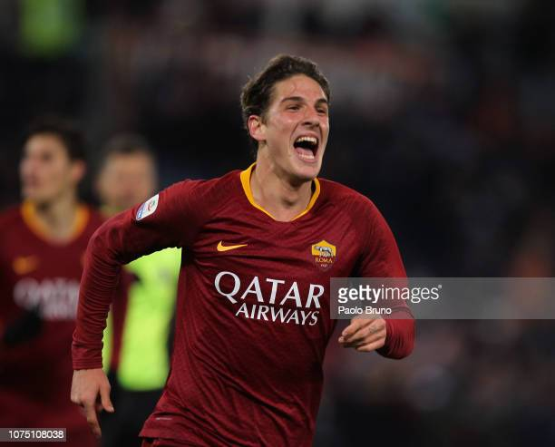 Nicolo' Zaniolo of AS Roma celebrates after scoring the team's third goal during the Serie A match between AS Roma and US Sassuolo at Stadio Olimpico...