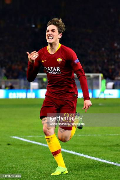 Nicolo Zaniolo of AS Roma celebrates scoring his sides first goal during the UEFA Champions League Round of 16 First Leg match between AS Roma and FC...