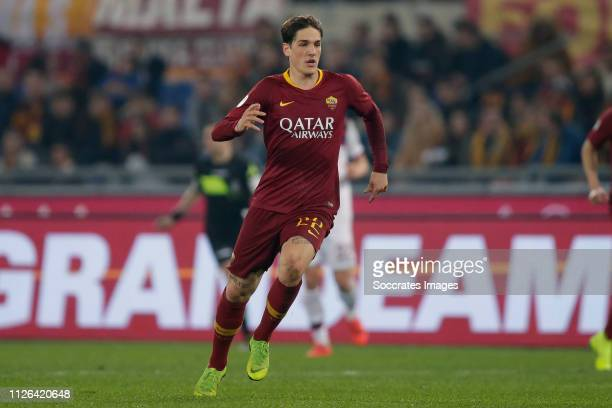 Nicolo Zaniolo of AS Roma during the Italian Serie A match between AS Roma v Bologna at the Stadio Olimpico Rome on February 18 2019 in Rome Italy