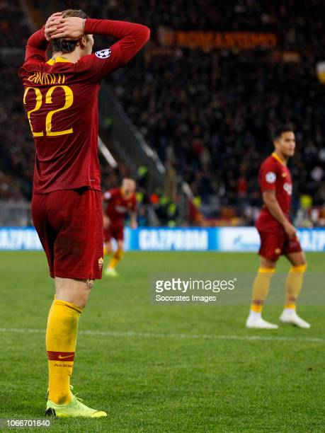 Nicolo Zaniolo of AS Roma during the UEFA Champions League match between AS Roma v Real Madrid at the Stadio Olimpico Rome on November 27 2018 in...
