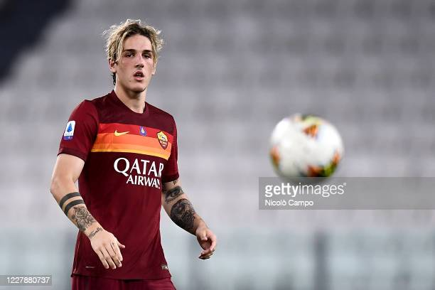 Nicolo Zaniolo of AS Roma eyes the ball during the Serie A football match between Juventus FC and AS Roma. AS Roma won 3-1 over Juventus FC.