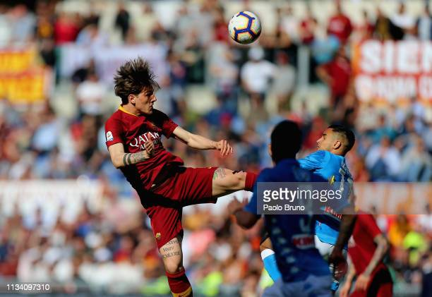 Nicolo' Zaniolo of AS Roma in action during the Serie A match between AS Roma and SSC Napoli at Stadio Olimpico on March 31 2019 in Rome Italy