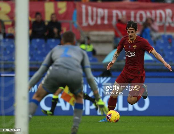 Nicolo' Zaniolo of AS Roma in action during the Serie A match between AS Roma and Brescia Calcio at Stadio Olimpico on November 24 2019 in Rome Italy