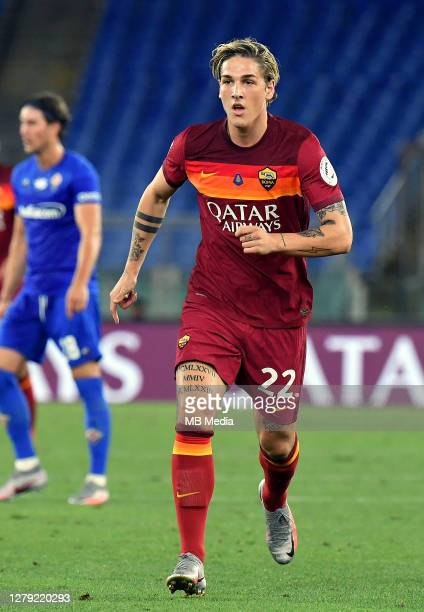 Nicolo Zaniolo of AS Roma on action ,during the Serie A match between AS Roma and ACF Fiorentina at Stadio Olimpico on July 26, 2020 in Rome, Italy.
