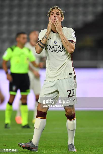 Nicolo Zaniolo of AS Roma reacts during the Serie A match between Torino FC and AS Roma at Stadio Olimpico di Torino on July 29, 2020 in Turin, Italy.